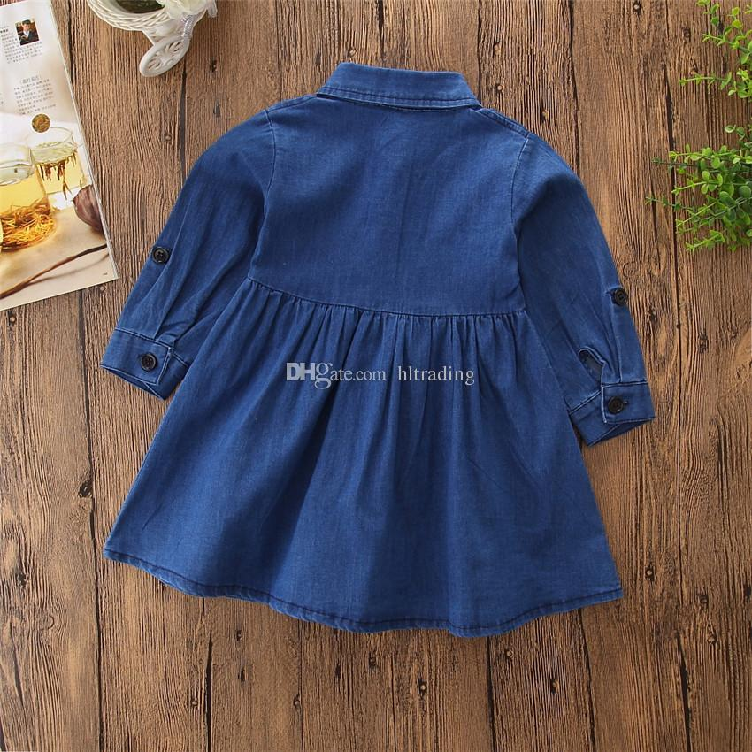 Bebek kızlar Nakış prenses elbiseler Çocuk Denim Çiçek gömlek Elbise 2018 yeni Çocuk Butik Giyim C3578