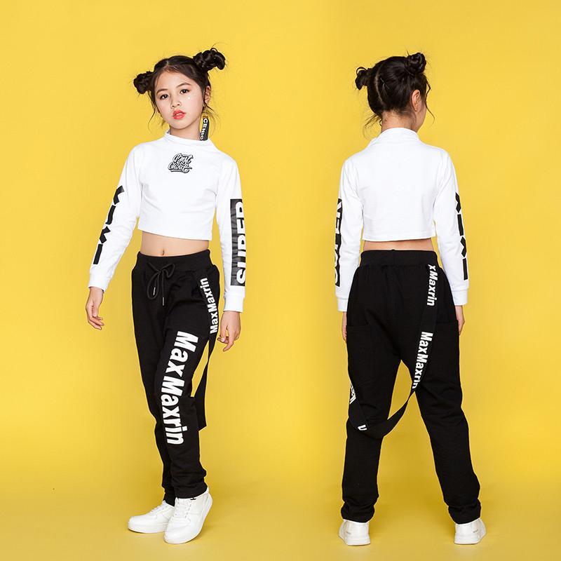 Compre Niños Jazz Dance Disfraces Hip Hop Dancing Clothes Para Niñas De  Manga Larga De Algodón Niños Street Dance Clothing Trajes De Etapa DN1767 A   56.84 ... 049756be299