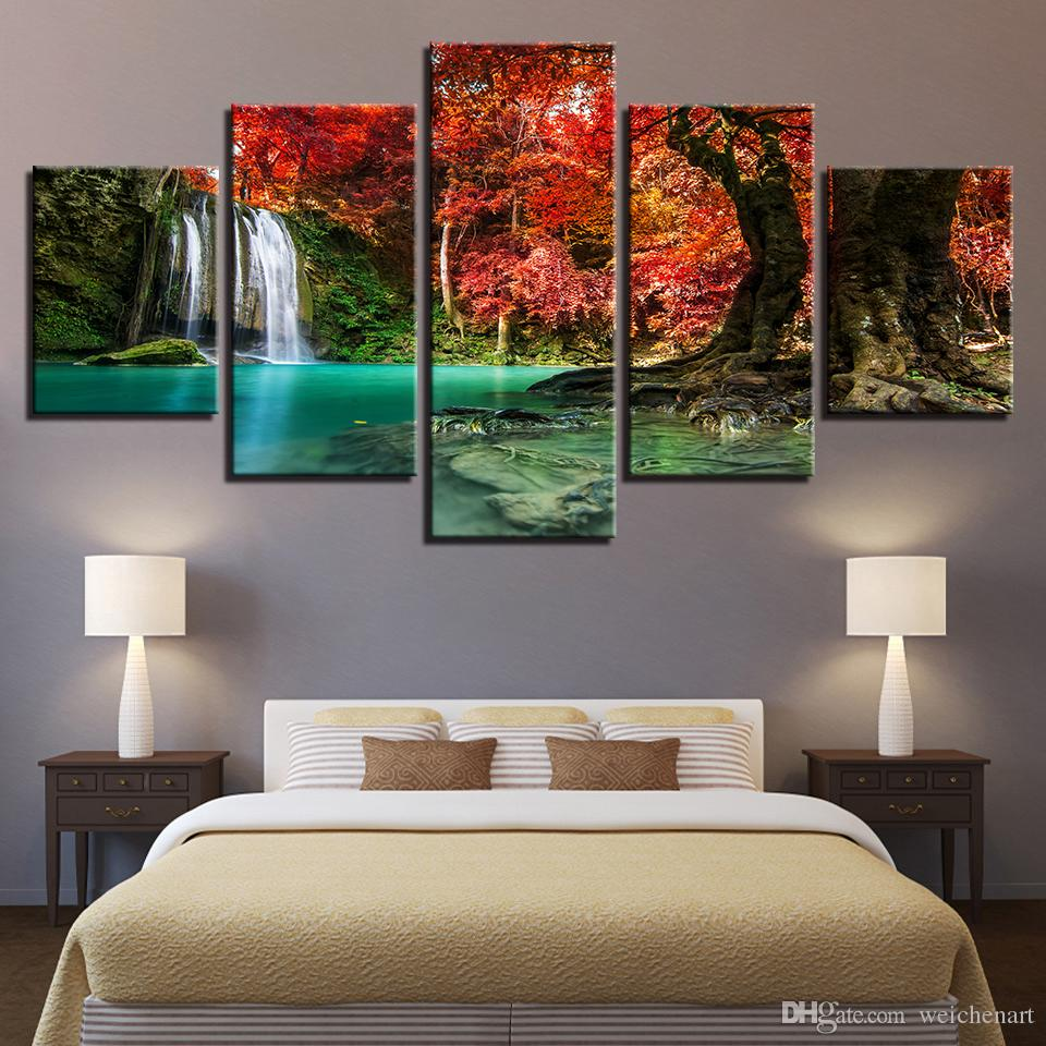 2019 Canvas Paintings Wall Art For Home Decor Kids Room Forest Lake  Waterfall Pictures HD Prints Red Trees Posters Framework From Weichenart,  ...