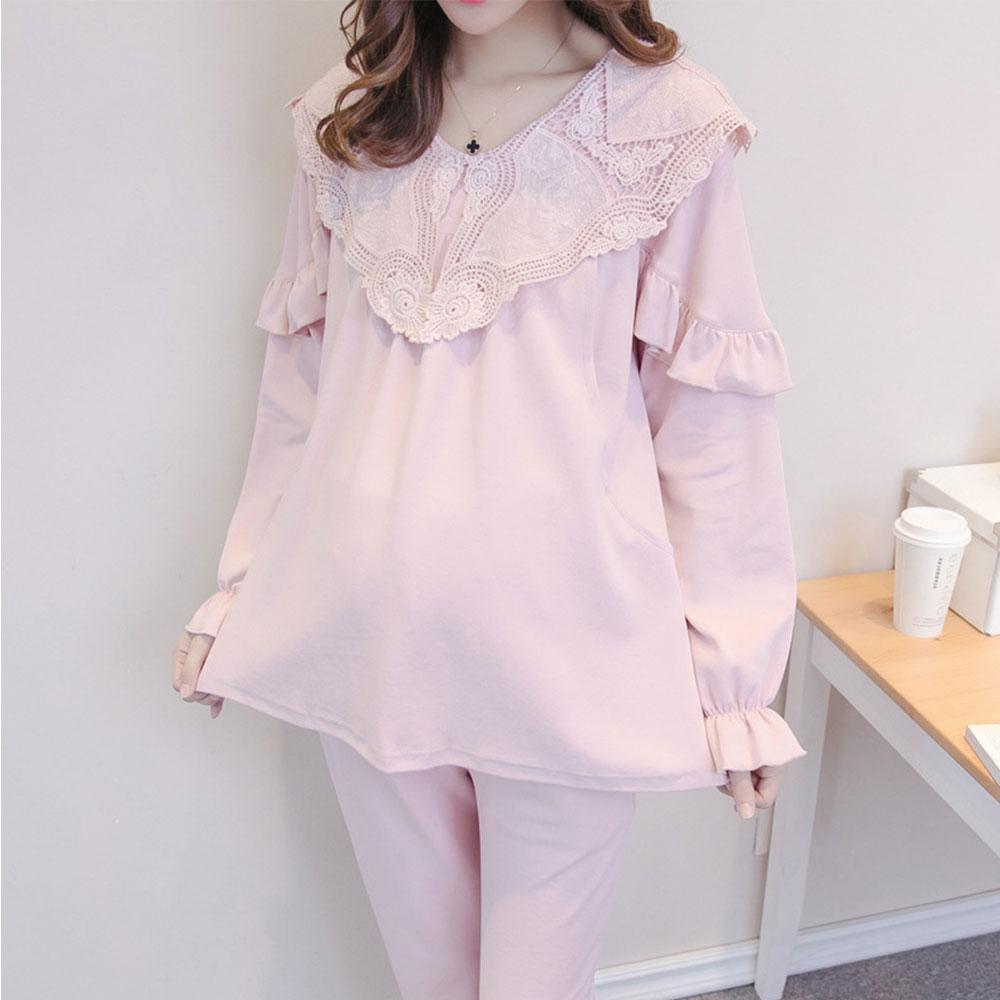 368548c1086cf 2019 Maternity Pajamas Set Nightwear Postpartum Women Nursing Clothing  Cotton Breastfeeding Pregnant Sleepwear Lace Collar From Breadfruiter, ...