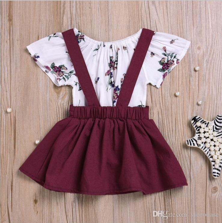 Vieeoease Girls Sets Baby Clothing 2018 Summer Sleeveless Floral Romper + Cotton Dress Children Outfits EE-104