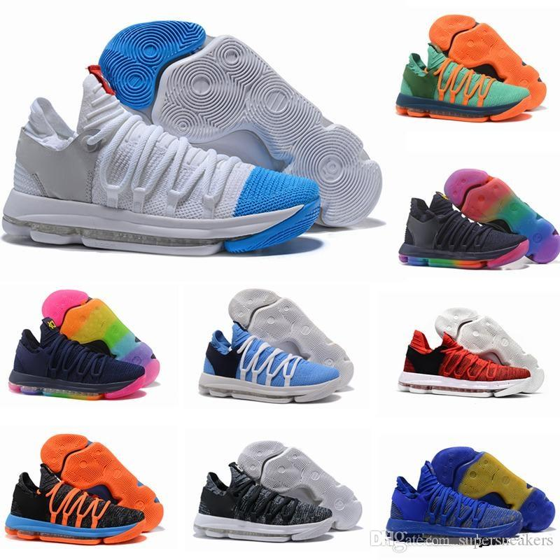 buy popular 2bbab 153cb New Zoom KD 10 Anniversary PE BHM Oreo Triple Black Rainbow Mens Basketball  Shoes KD 10s X Elite Low Kevin Durant Athletic Sport Sneakers UK 2019 From  ...