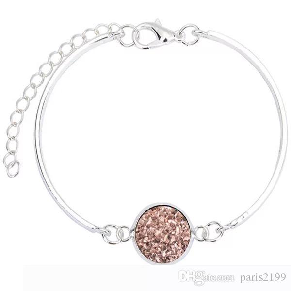 Vendite calde Moda donna Druzy Drusy Bracciale in argento placcatura in oro resina di cristallo geometria vari i roccia pietra Bangl gioielli