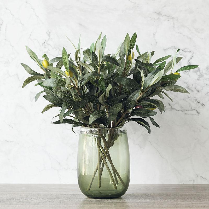 Green Artificial Olive Branch Simulation Plant Olive Leaf Home Wedding Decoration Fake Flower Christmas Decoration Flowers