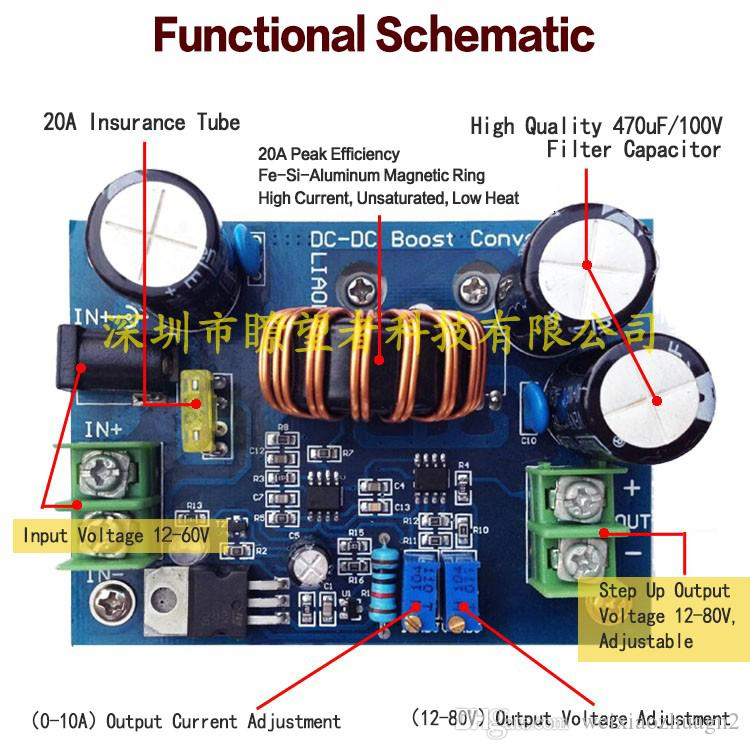 Hohe Effizienz 95%, DC-DC 600W IN 12-60V OUT 12-80V Hochsetzsteller Aufwärtsmodul Mobiles Netzteil DC-Modell 15A für Laptop