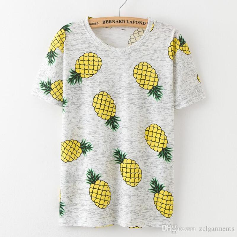 846c21c16d3d Hot Style Pineapple Print Tees Short Sleeve T-shirt Women T Shirt ...