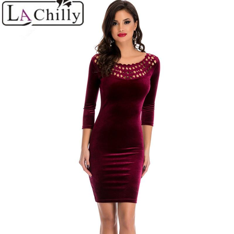2019 La Chilly 2018 Office Sheath Dress Burgundy Hollow Out Round Neck  Sleeved Velvet Dress LC22925 Night Club Autumn Winter Dresses Y1891001 From  ... eb014f1638c3