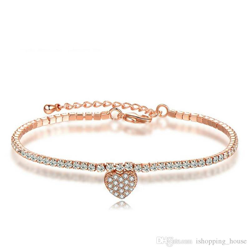 da8451b54c6 2019 Hotsale Charming Women Bracelets Rose Gold/White Gold Plated Clear  Super Sparky Cubic CZl Heart Bracelet For Girls Women Nice Gift From  Ishopping_house ...