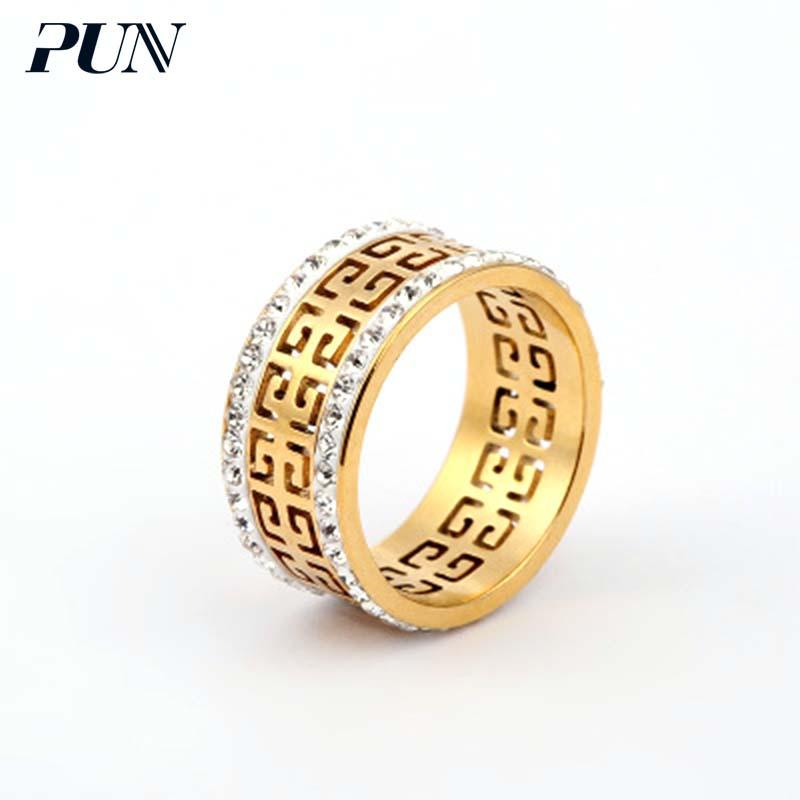 2018 Pun Wedding Band Zirconia Stainless Steel Couple Rings For
