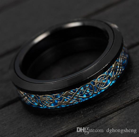 2017 New Hot Jewelry Haute Qualité Dragon Texture Roulant En Acier Au Titane Pour Mans Noël Jour De Vacances Promotion