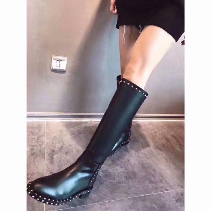 6142115755 women boots leather rivet design Coat of paint and knitting pointed ankle  tube Genuine keep warm Pure color style, various Western