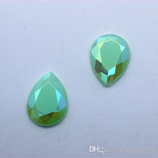 100 unids 13 * 18mm Crystal AB Jelly Color Acrílico Rhinestones espalda plana Granos DIY Joyería Accesorios de la Ropa ZZ2