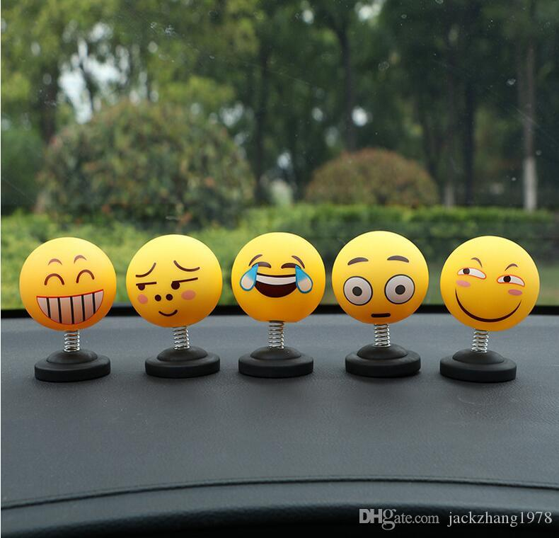Car Ornaments Funny Emoji Shaking Head Dolls Automobile Dashboard  Decoration Creative Smiley Cute Shy Expression Decor Toys