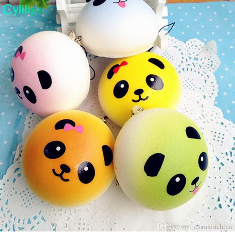 2018 New Squishy Straps Cell Phone Charms Soft Key Chain Bread Buns Fashion Panda Phone Straps Stress relief Toys for Relax