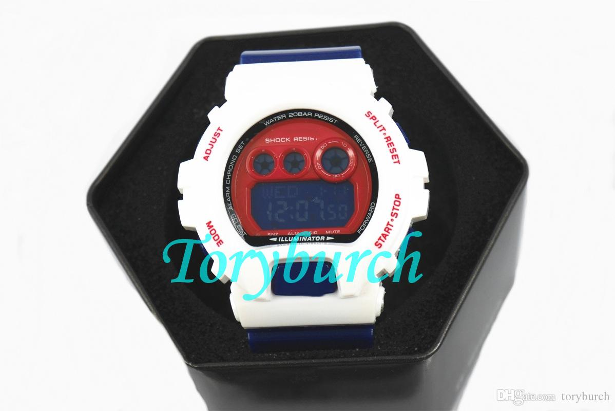 6900 top quality New arrival in 2018 auto light relogio fashion watch with box men's sports watch,all functions work