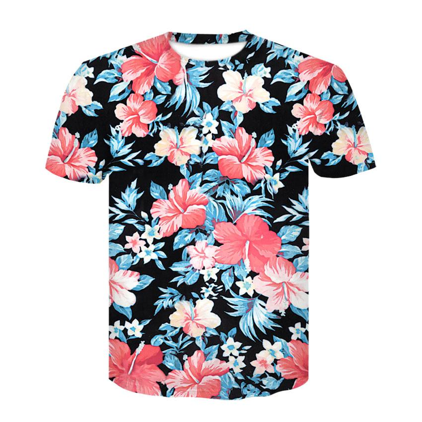 2018 New Beautiful Flowers Print T Shirt For Men Women Summer Tees