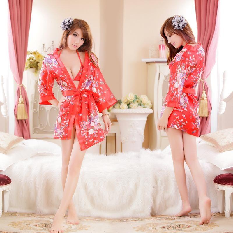 511725b6e 2018 Japanese Red Cherry Blossom Kimono Style Sexy Pajamas Three ...