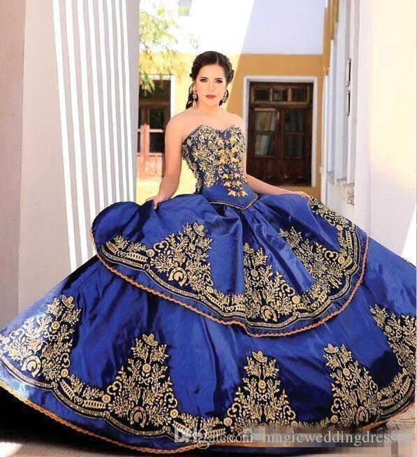 Royal Blue Gold Lace Quinceanera Dresses Ball Gown Sweetheart Embroidery Appliques Beaded Sweet 16 Masquerade Dresses Lace Up