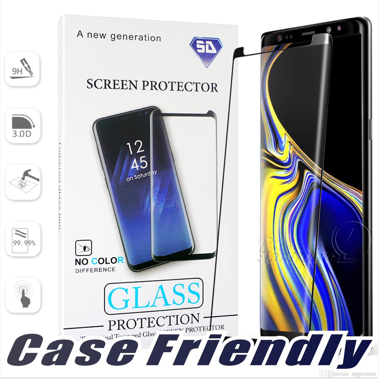 Case Friendly For S10 5G VERSION Samsung Galaxy S10 S9 S8 Plus S7 S6 Edge Note 9 8 NO HOLE Tempered Glass 3D Curve Edge Screen Protector Best Quality