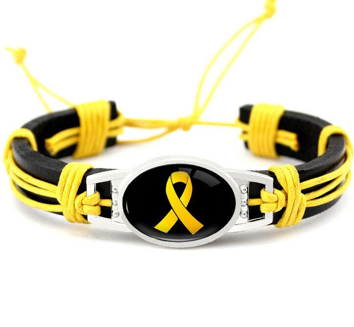 Hot Pink Breast Cancer Fighter Faith Ribbon Awareness Paracord Bracelets Yellow Black Outdoor Camping Sport Rope Charm Leather Bracelet