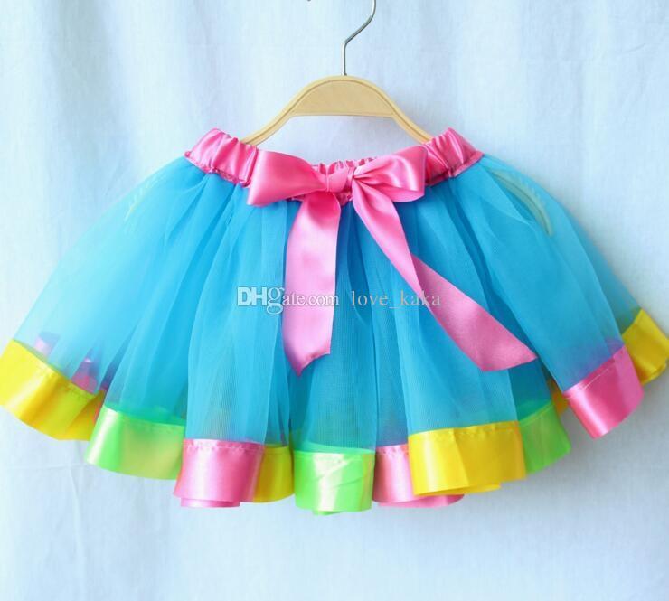 6 Unids Nuevo Niño falda de las muchachas Color del arco iris tutú Vestidos de Encaje Recién Nacido Princesa Falda Pettiskirt Volantes Ballet Dancewear