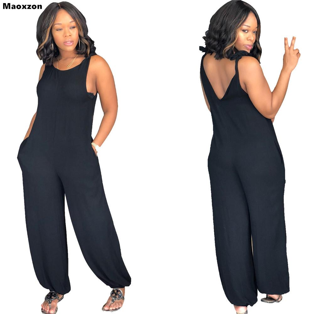 Maoxzon Women's Sexy Strap Loose Jumpsuits Rompers Black Summer Sleeveless Backless Suspenders One Piece Pants XXL For Female