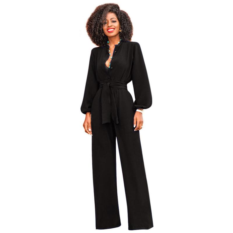 532f6f60bfb 2019 Women EleJumpsuits Long Sleeve Turn Down Collar V Neck Wide Leg Pants  Rompers With Sashes Runway Party Jumpsuits Overalls From Fangfen
