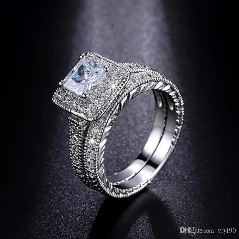 Fashion Prong Setting Square Cut White Sapphire Cubic Zirconia Crystal White Gold Plated Couple Ring Sets For Women Men's Engagement Gift