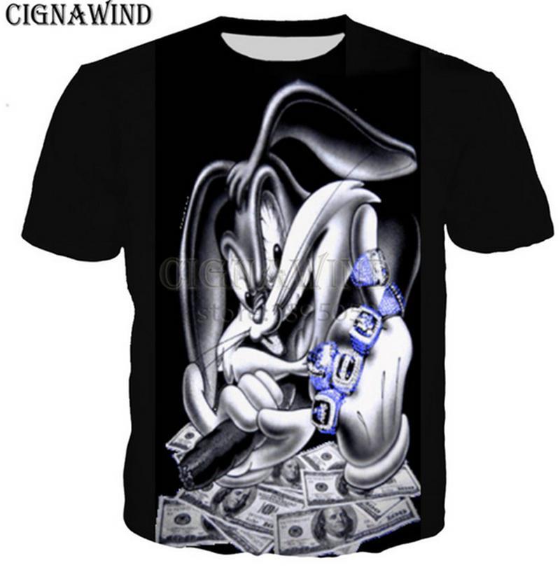 96223ad7581b Harajuku Style Popular Gangster Bugs Bunny T Shirt Men Women 3D Print  Fashion Short Sleeve Tshirt Streetwear Casual Summer Tops Z03 Awesome Shirt  Designs ...