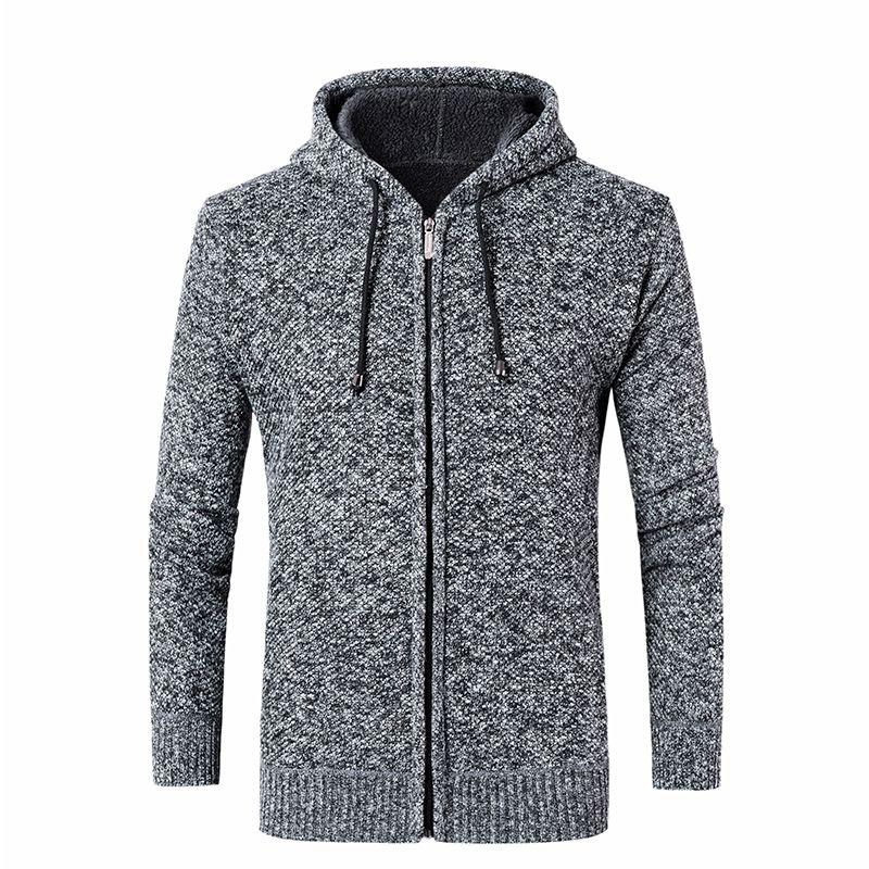 5290c94e54 Compre Vogue Homens Blusas De Malha Com Capuz Cardigans Collar Inverno Lã  Moda Masculina Camisolas Casaco Mais De Veludo Grosso Roupas Masculinas De  Donahua ...
