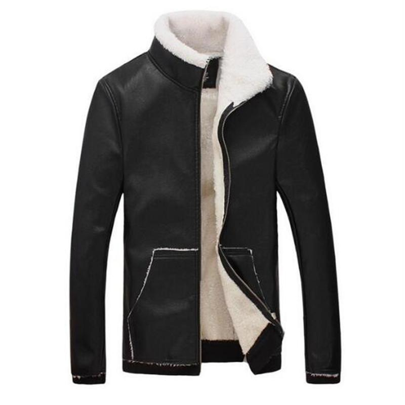 Loldeal Men S Faux Leather Jacket Brown Motorcycle Bomber Shearling