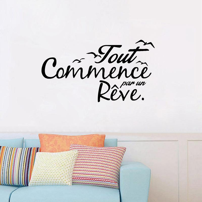 french inspiration quote vinyl wall stickers birds letterings dream