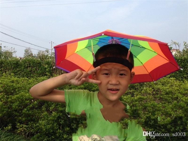 a97d68c94856f 2019 Outdoor Sport Umbrella Hat Rainbow Color Folding Fishing Umbrellas  Beach Cap Iron Stents Elastic Band Bumbershoot For Travel 3 5mj ZZ From  Sd003