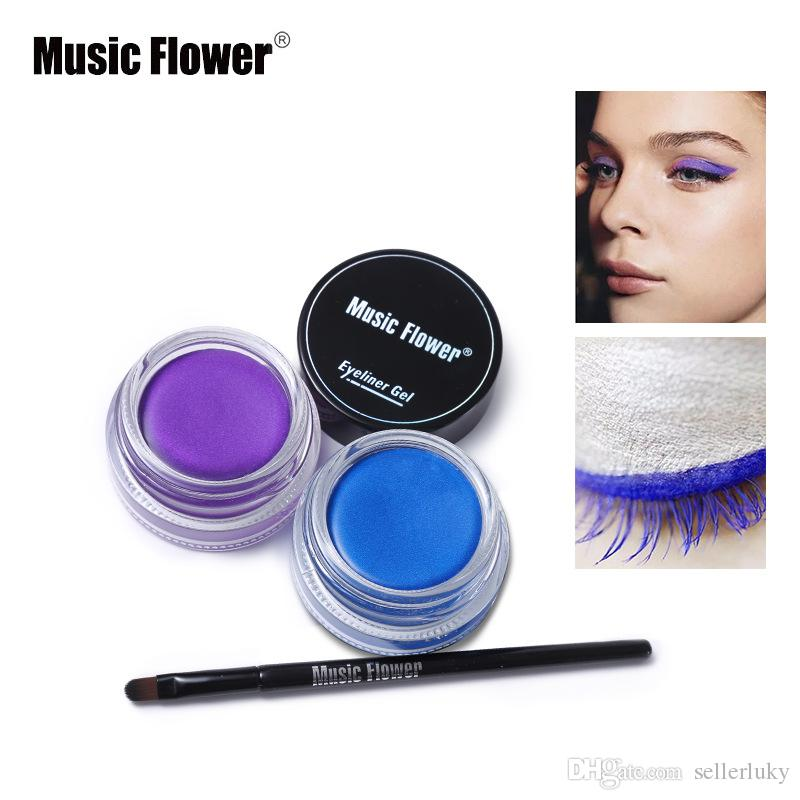 Music Flower Brand Shimmer Matte Eyeliner Cream Waterproof Makeup Long Lasting Thick Gel Eye Liner Cosmetics With Brush