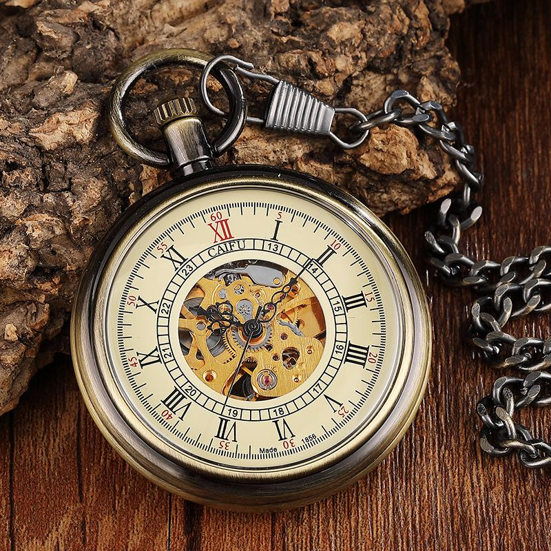 5092a07ad00 Compre Número Único Bronze Do Vintage Romano Dial Steampunk Mecânica Relógio  De Bolso Homens Cadeia De CORRENTE OCO Esqueleto Steampunk Relógio Relógios  De ...