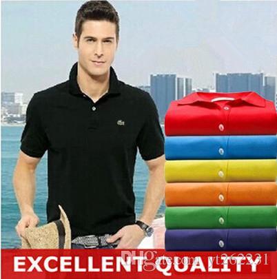 Compre es Para Hombre Bordado Polo Marcas Slim Fit Casual Sólido Camisas De  Polo Marca De Ropa De Manga Corta Moda Poloshirt Verano A  8.63 Del  Yt262231 ... 53df7d5c73fe1