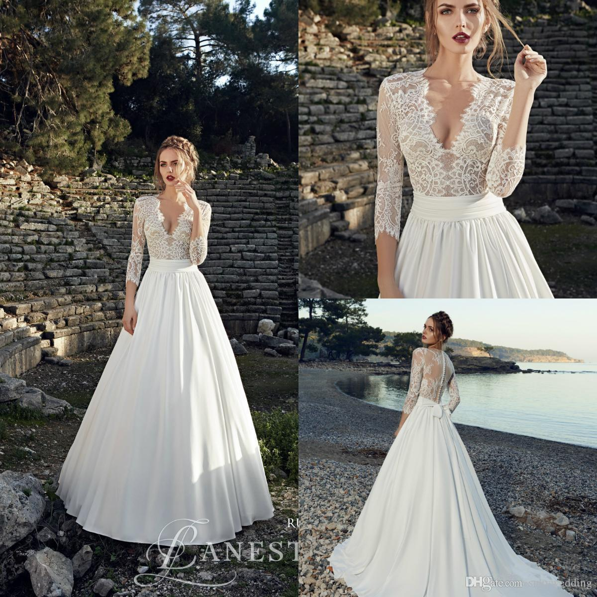 9e96c00571 Cheap Asymmetric Lace Wedding Dresses Discount Off Shoulder Bohemian Wedding  Dresses