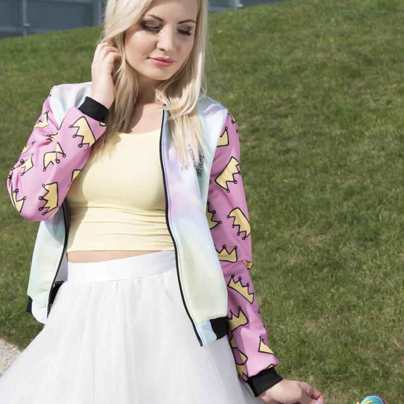 Zohra Hot sale Brand Women Bomber Jacket 3D Printed Princess Crown Outwear Coats University College chaquetas Basic Jackets