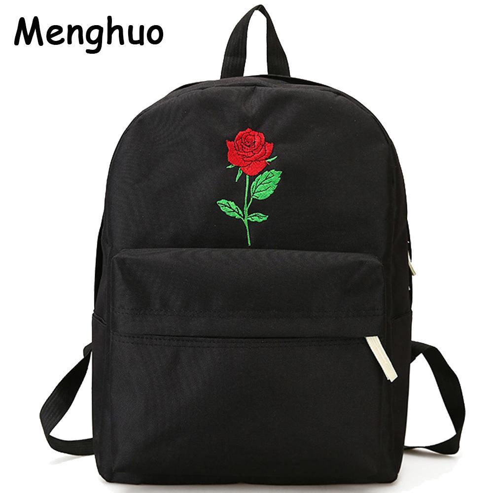 f891108c9987 Menghuo Men Heart Canvas Backpack Women School Bag Backpack Rose Embroidery  Backpacks For Teenagers Women S Travel Bags Mochilas Y1890302 Rucksack  Backpack ...