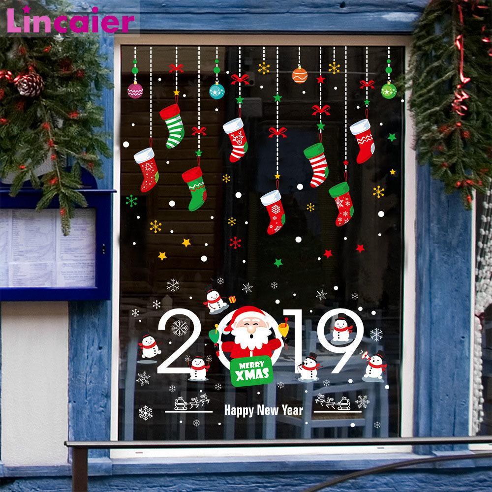 Casa Babbo Natale 2019.Acquista Lincaier 2019 Buon Anno Buon Natale Decorazioni Finestra