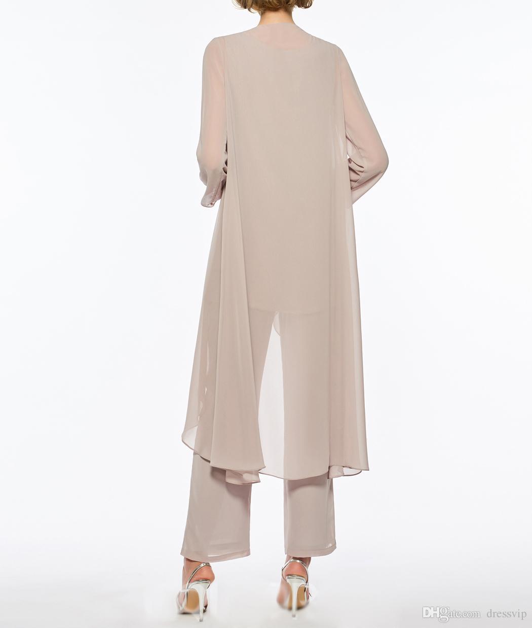Plus Size Mutter der Braut Hosenanzug 3 Stück Chiffon für Strandhochzeitskleid Kleid der Mutter mit langen Ärmeln Günstige Mütter Abendkleid