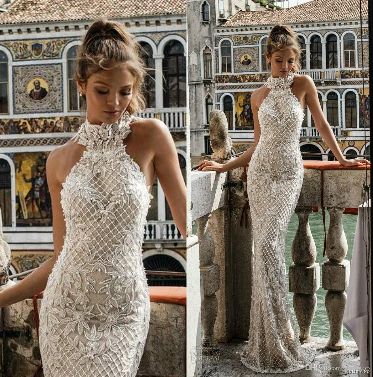 b12a234790 Julie Vino Spring 2018 Mermaid Wedding Dresses Halter Neck Lace Bridal  Gowns With Beads Floor Length Appliques Beach Wedding Dress Wedding Dress  Shops ...