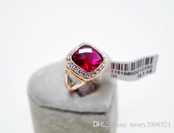 Wedding Engagement Red Ruby Rose Gold 5.75 ct simulated diamond Ring size 7.5