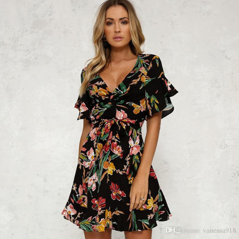 e64838571f2f0 Women Dress Summer Frill Detail Surplice Wrap Party Dress Ladies Deep V Neck  Short Sleeve A Line Dress Flower Print ONY188 Inexpensive Cocktail Dresses  Lace ...