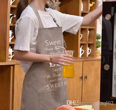 Grembiule da cucina di alta qualità su tela grembiuli camerieri coreani con tasche ristorante casa strumento di cottura negozio lavoro grembiule KKA1052