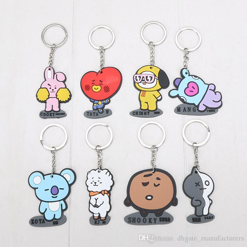 8PCS/SET BT21 BTS Bangtan Boys Keyring Keychain bag Pendant RM JIN SUGA  J-HOPE JIMIN V JUNG KOOK ARMY Figures toy