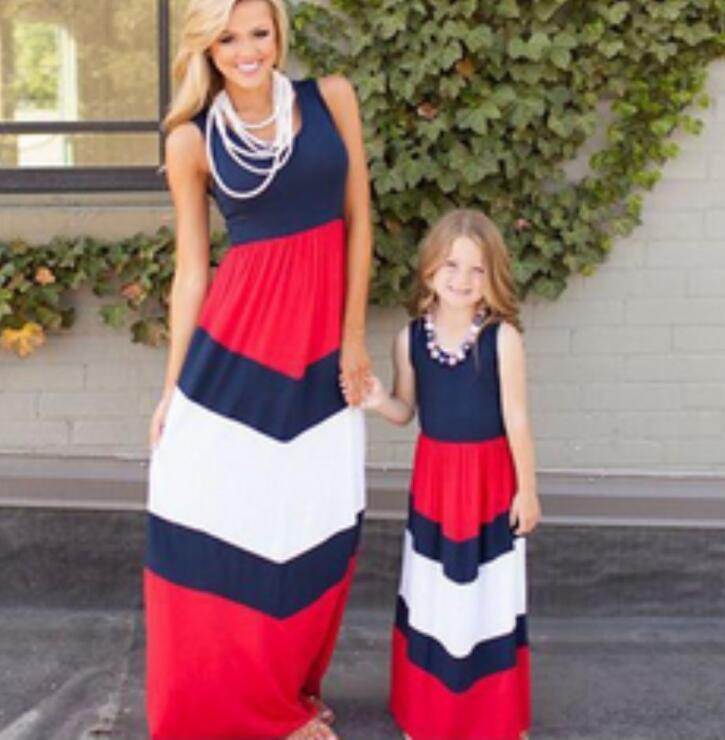 2018 Mother Daughter Striped Dresses Family Matching Outfits for Summer Sleeveless Casual Dress Mom Daughter Clothes Plus Size XXXL