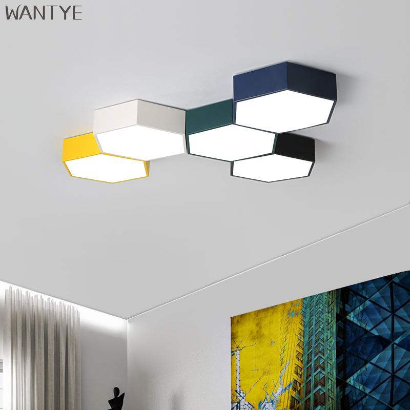 Personality Polygon Geometric Led Ceiling Light 24w Dimming Bedroom Living Room Foyer Room Ceiling Lamp Lights & Lighting Ceiling Lights & Fans