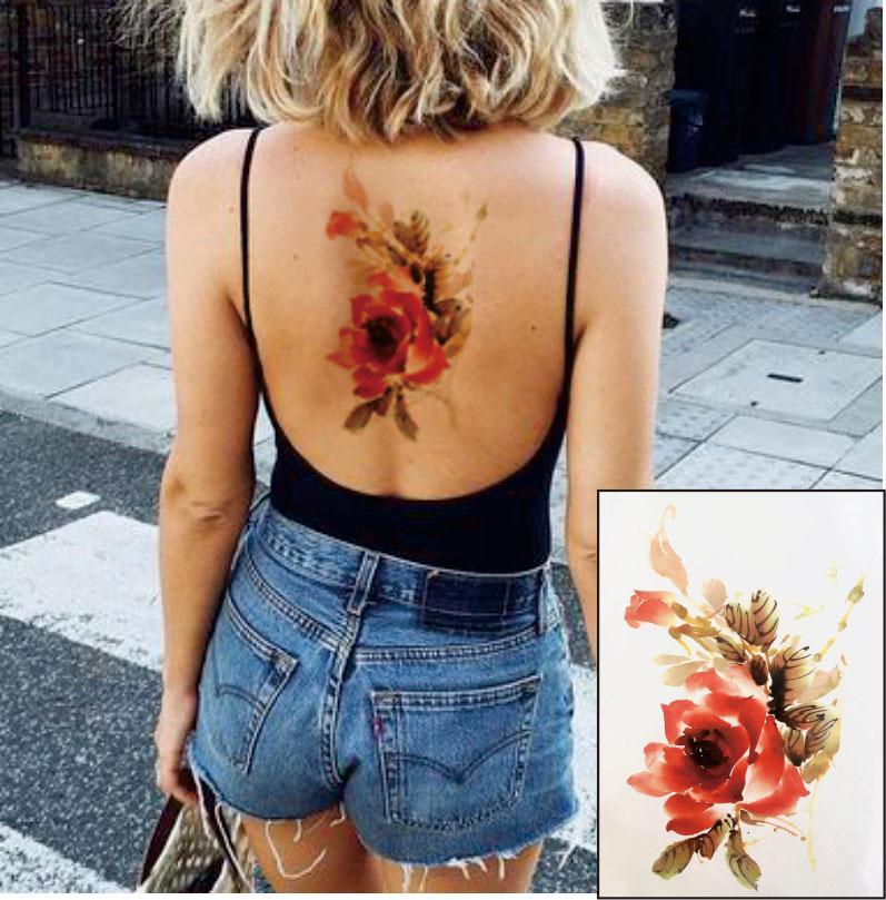 Acheter Le Tatouage Temporaire De La Fleur Aquarelle Ft08 Peut Etre