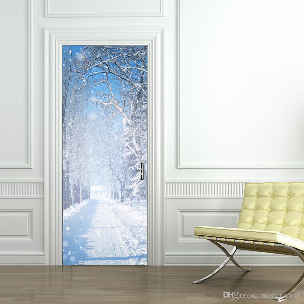 3D стерео моделирование двери стикер зима снег пейзаж стены графический самоклеящиеся водонепроницаемый украшения обои плакат ремонт наклейки на стены
